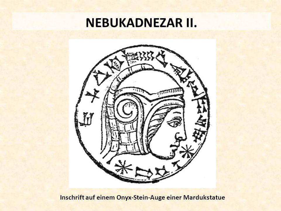 Inschrift auf einem Onyx-Stein-Auge einer Mardukstatue