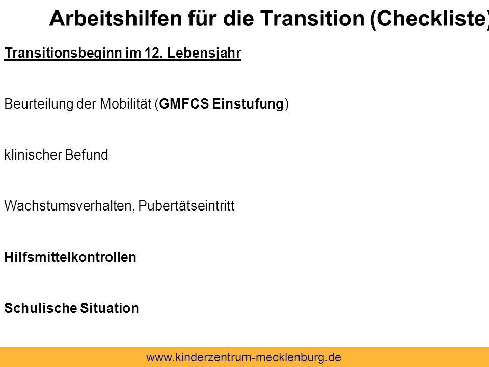 Arbeitshilfen für die Transition (Checkliste)