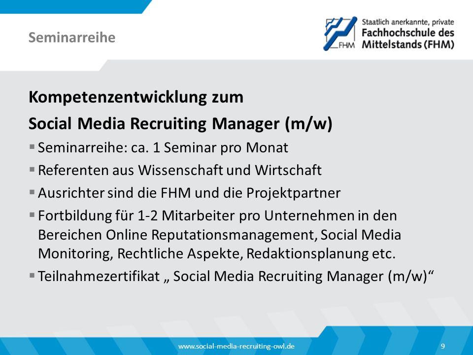 Kompetenzentwicklung zum Social Media Recruiting Manager (m/w)