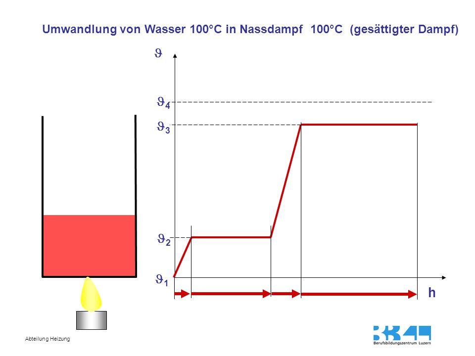 Umwandlung von Wasser 100°C in Nassdampf 100°C (gesättigter Dampf)