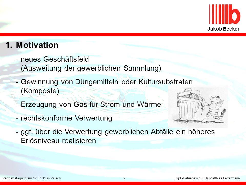 Jakob Becker 1. Motivation. - neues Geschäftsfeld (Ausweitung der gewerblichen Sammlung)