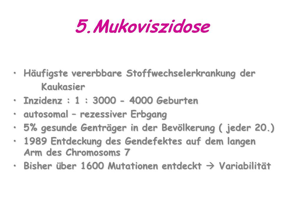 5.Mukoviszidose Häufigste vererbbare Stoffwechselerkrankung der