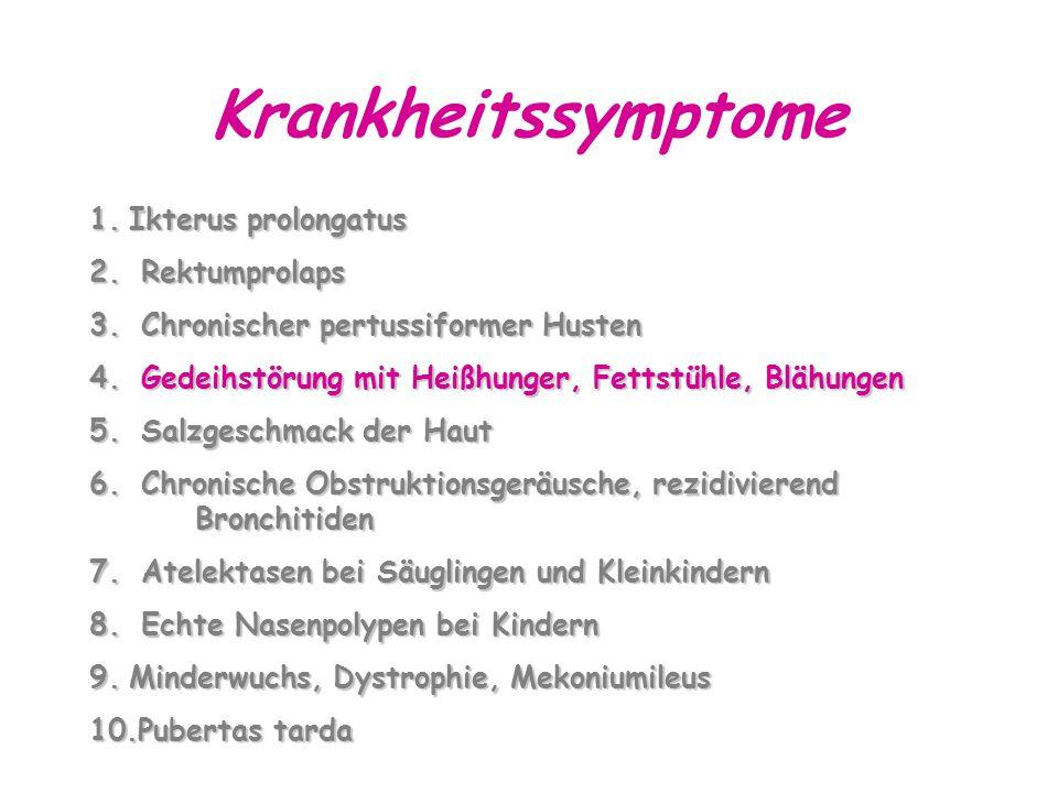 Krankheitssymptome Ikterus prolongatus Rektumprolaps