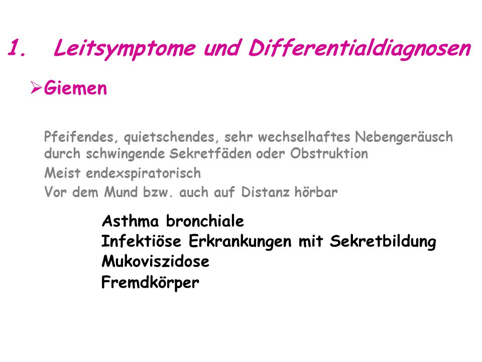1. Leitsymptome und Differentialdiagnosen