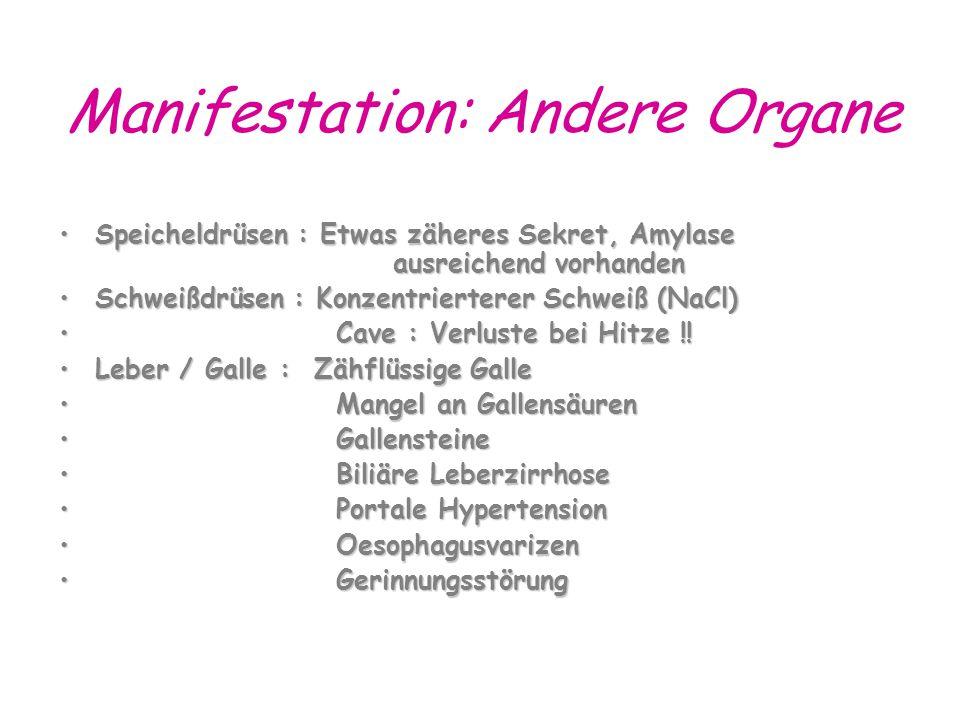 Manifestation: Andere Organe