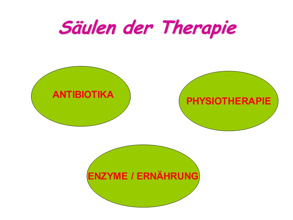 Säulen der Therapie PHYSIOTHERAPIE ANTIBIOTIKA ENZYME / ERNÄHRUNG