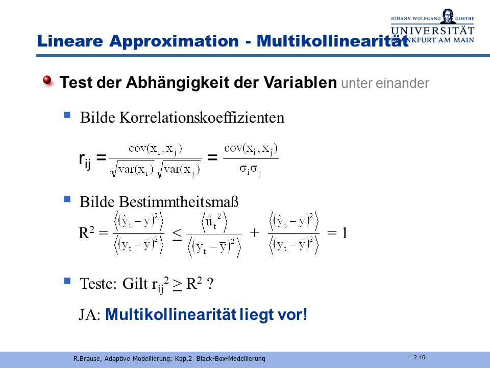 Lineare Approximation - Multikollinearität