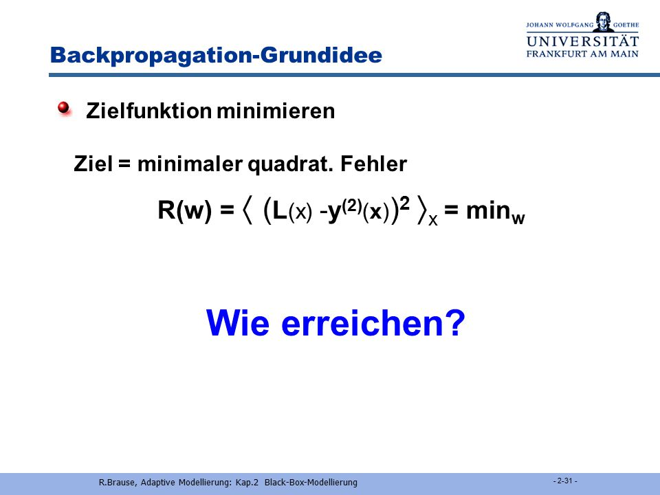 Backpropagation-Grundidee