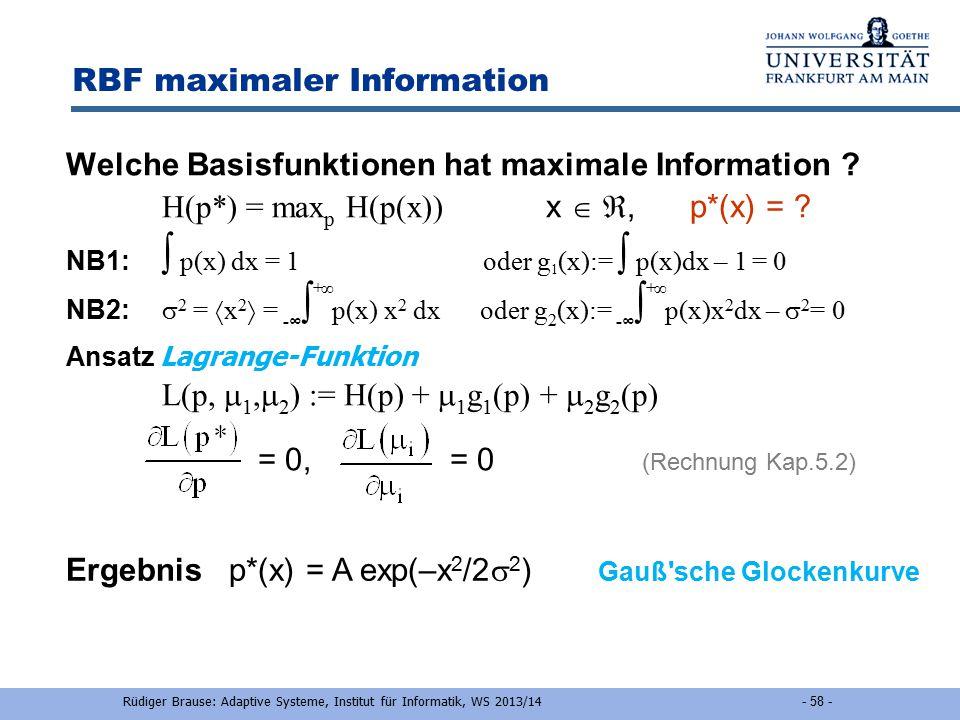 RBF maximaler Information