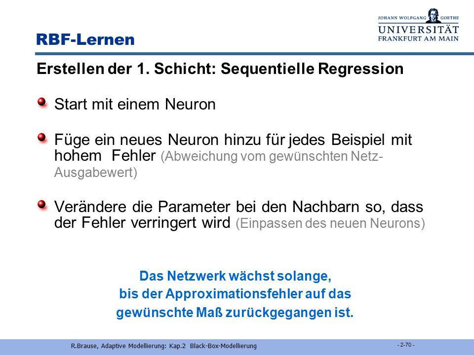 Erstellen der 1. Schicht: Sequentielle Regression