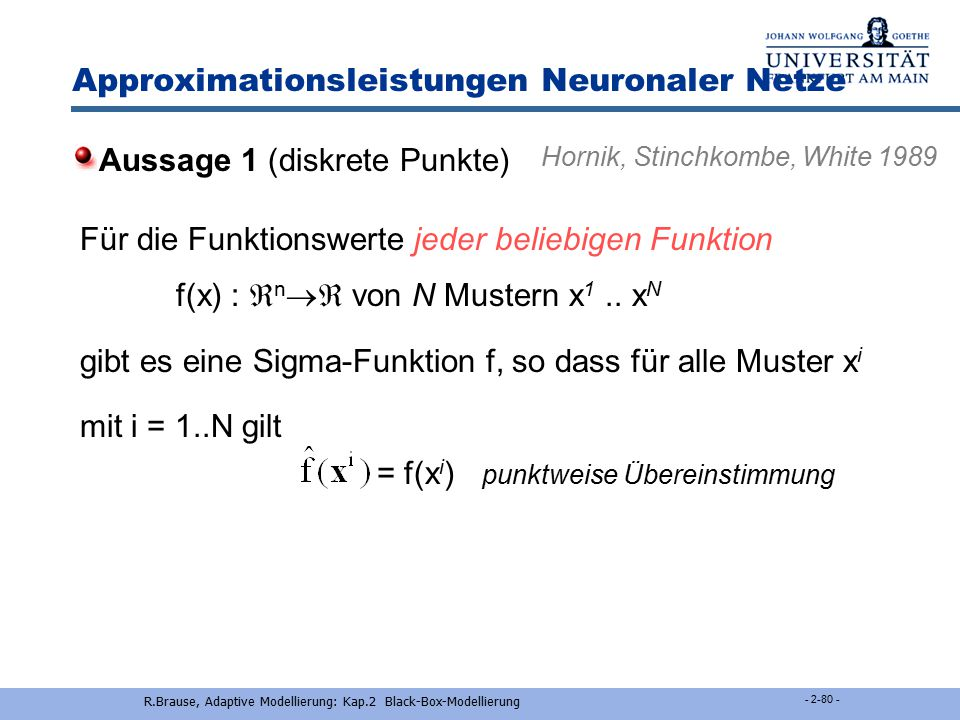 Approximationsleistungen Neuronaler Netze