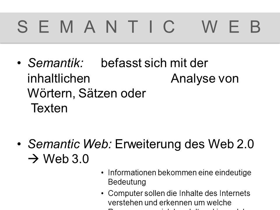 SEMANTIC WEB Semantik: befasst sich mit der inhaltlichen Analyse von Wörtern, Sätzen oder Texten.