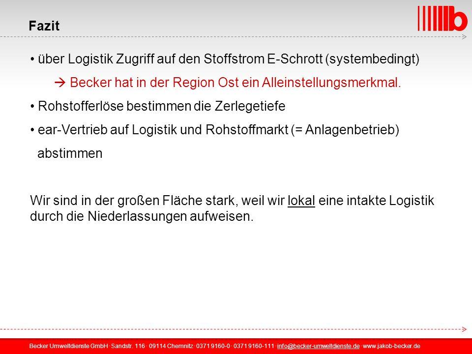 Fazit über Logistik Zugriff auf den Stoffstrom E-Schrott (systembedingt)  Becker hat in der Region Ost ein Alleinstellungsmerkmal.