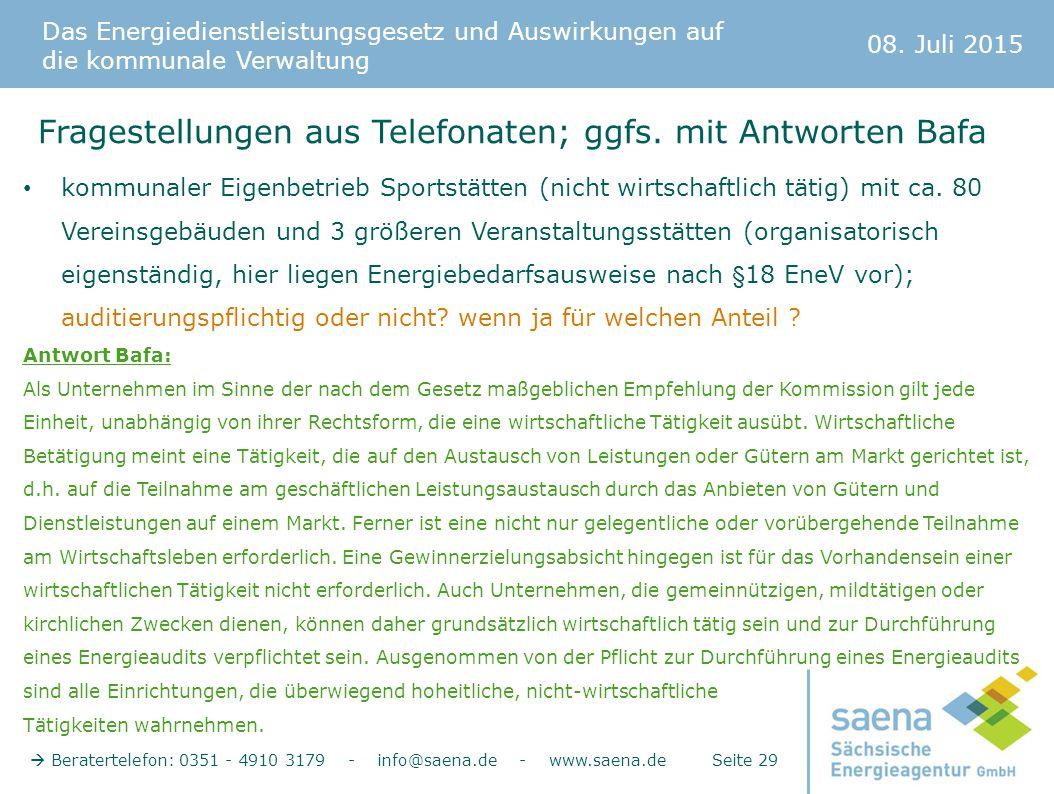 Fragestellungen aus Telefonaten; ggfs. mit Antworten Bafa