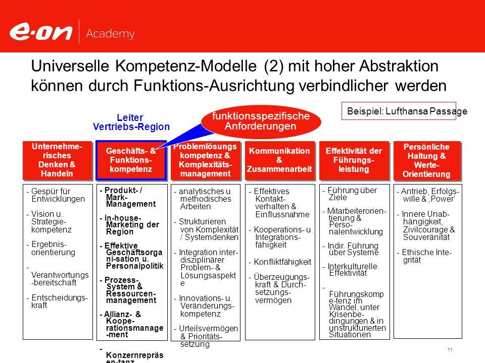 Universelle Kompetenz-Modelle (2) mit hoher Abstraktion können durch Funktions-Ausrichtung verbindlicher werden