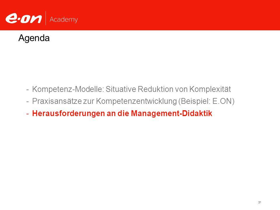 Agenda Kompetenz-Modelle: Situative Reduktion von Komplexität