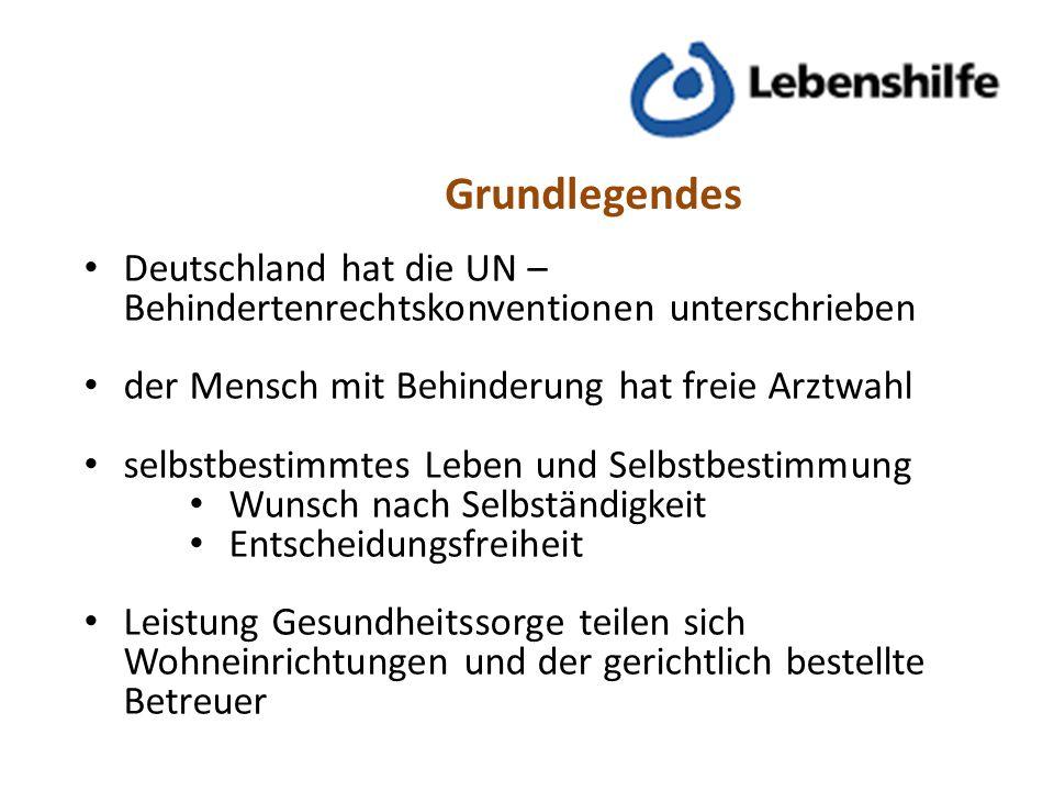 Grundlegendes Deutschland hat die UN –Behindertenrechtskonventionen unterschrieben. der Mensch mit Behinderung hat freie Arztwahl.