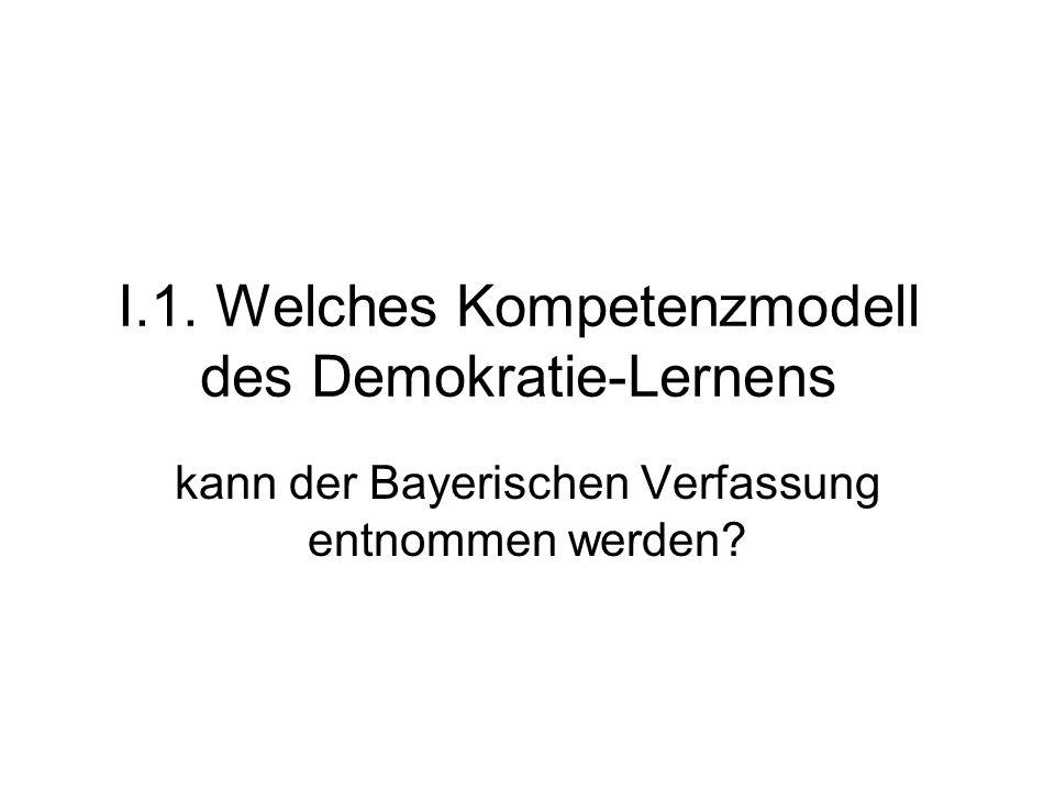 I.1. Welches Kompetenzmodell des Demokratie-Lernens