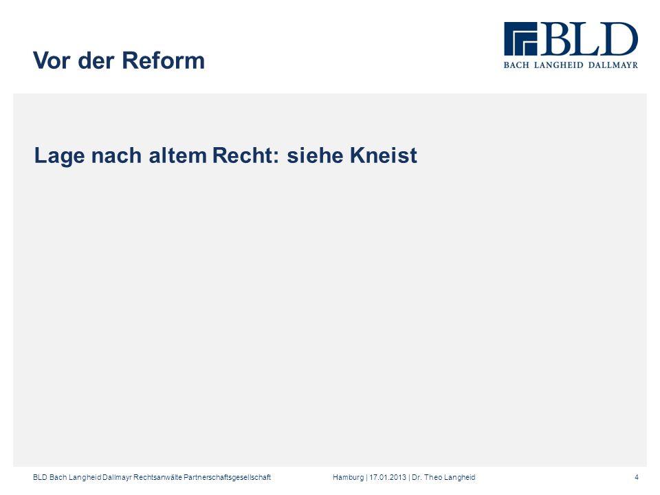 Vor der Reform Lage nach altem Recht: siehe Kneist