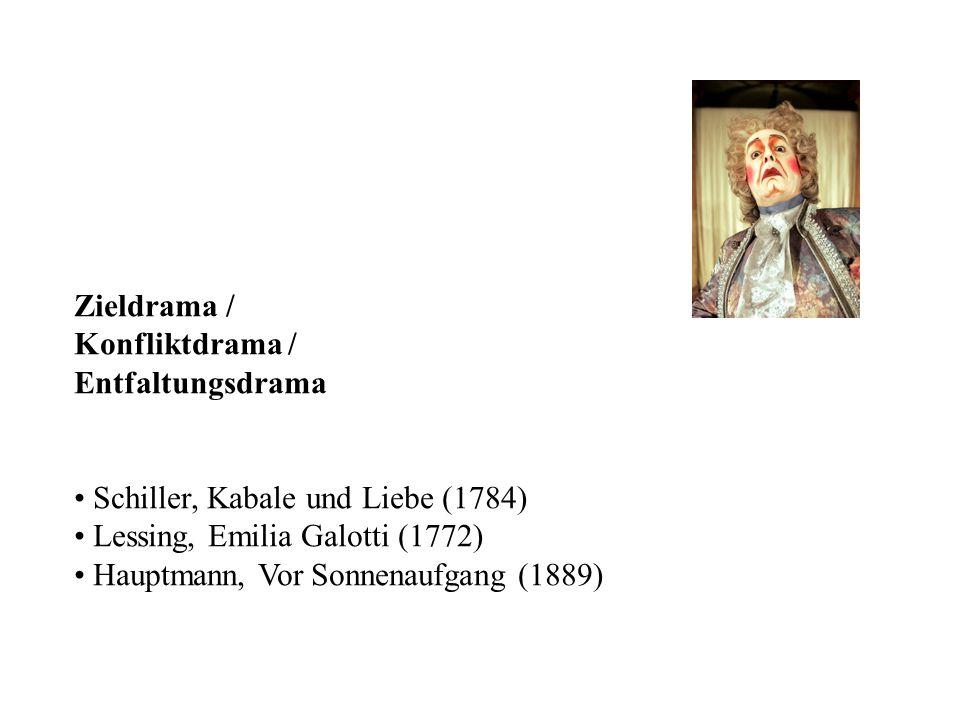 Zieldrama / Konfliktdrama / Entfaltungsdrama. Schiller, Kabale und Liebe (1784) Lessing, Emilia Galotti (1772)