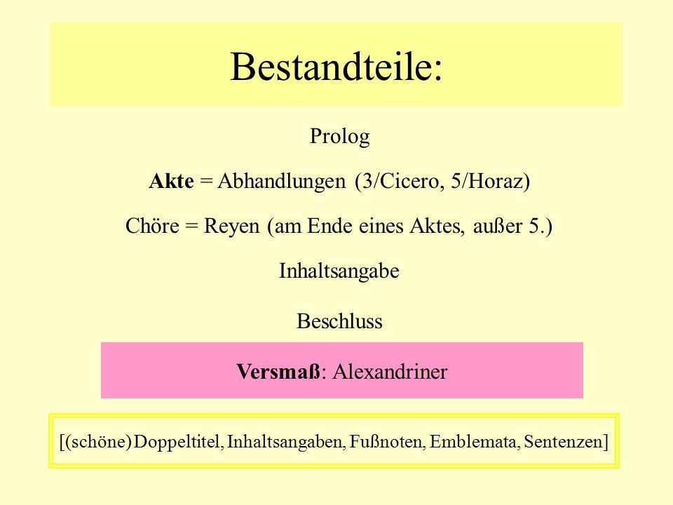 Bestandteile: Prolog Akte = Abhandlungen (3/Cicero, 5/Horaz)