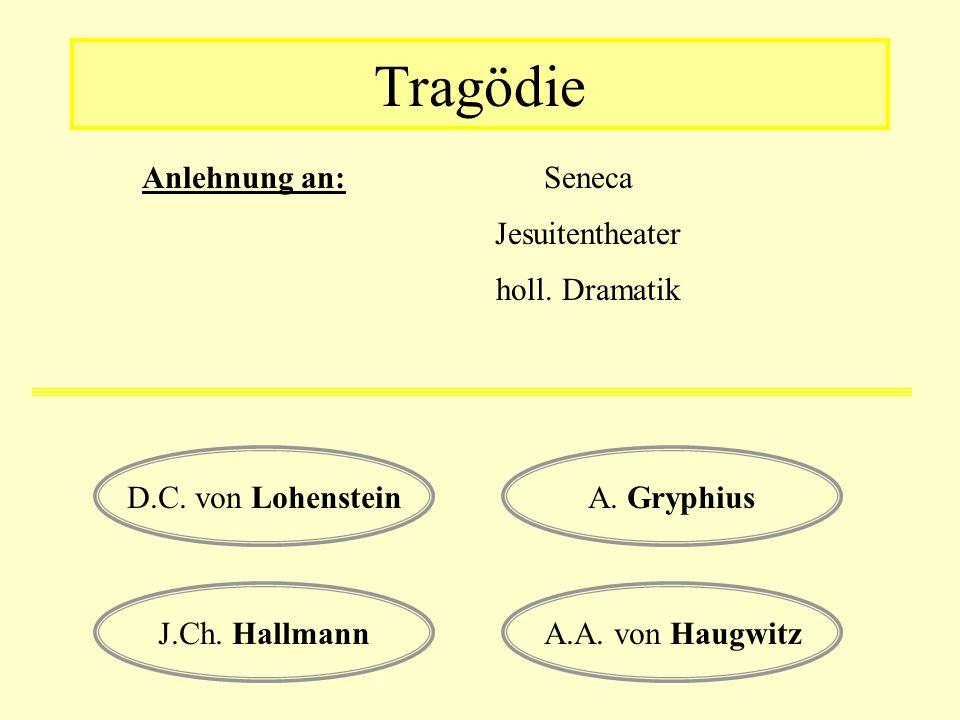 Tragödie Seneca Anlehnung an: Jesuitentheater holl. Dramatik