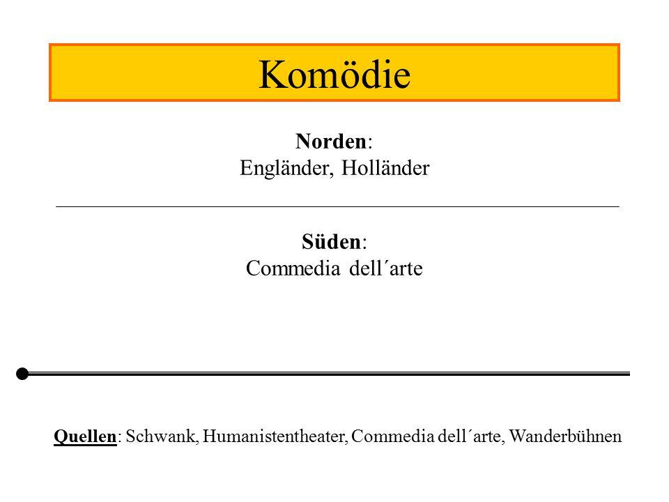 Quellen: Schwank, Humanistentheater, Commedia dell´arte, Wanderbühnen