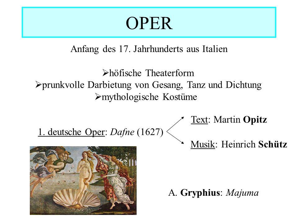OPER Anfang des 17. Jahrhunderts aus Italien höfische Theaterform