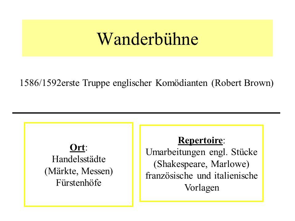 Wanderbühne 1586/1592 erste Truppe englischer Komödianten (Robert Brown) Ort: Handelsstädte. (Märkte, Messen)