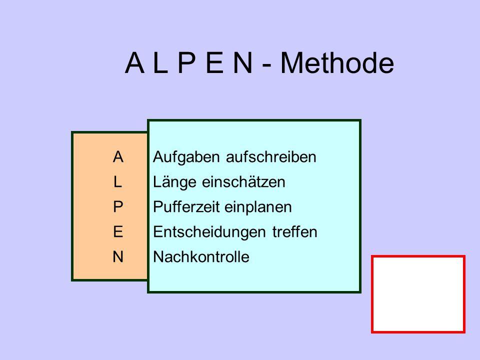 A L P E N - Methode Aufgaben aufschreiben A Länge einschätzen L