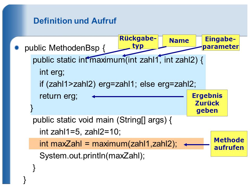 public static int maximum(int zahl1, int zahl2) { int erg;