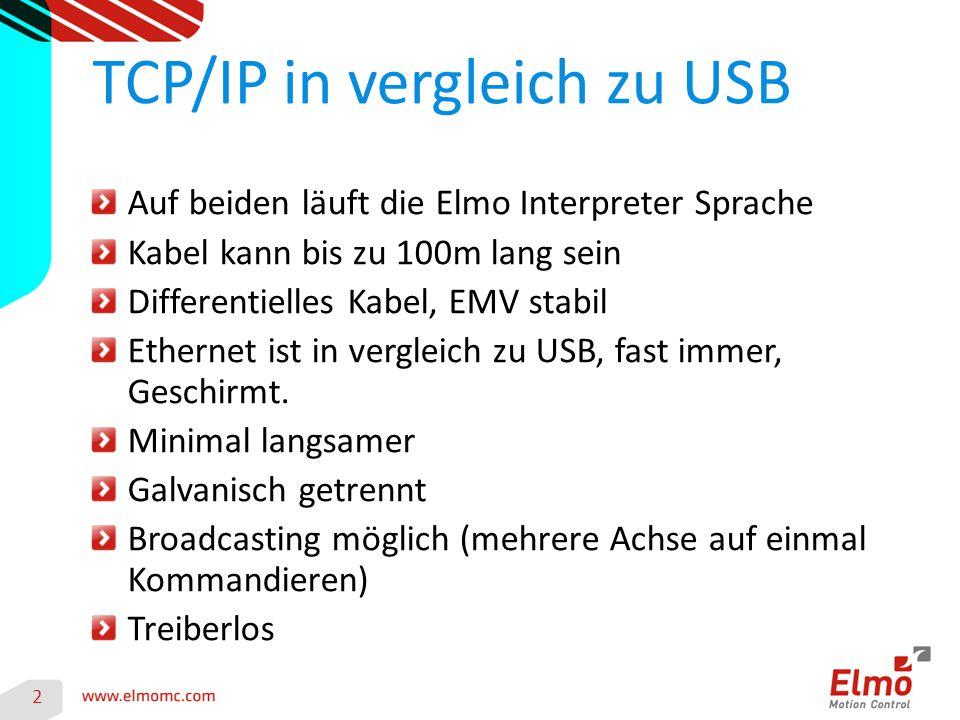 TCP/IP in vergleich zu USB