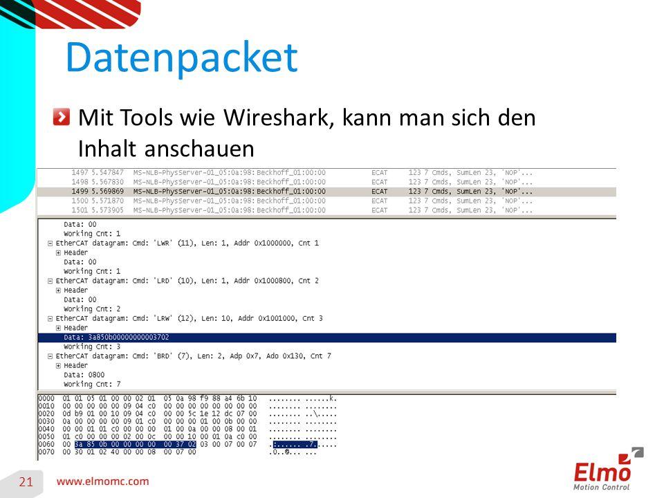 Datenpacket Mit Tools wie Wireshark, kann man sich den Inhalt anschauen