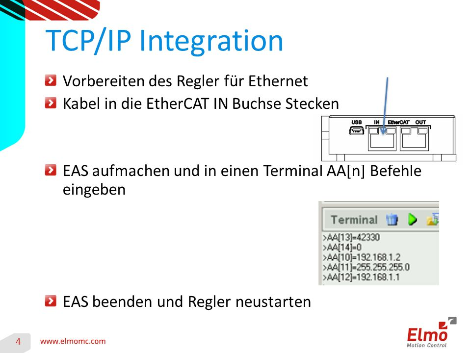 TCP/IP Integration Vorbereiten des Regler für Ethernet