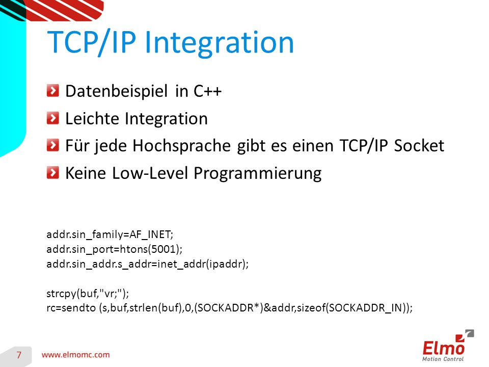 TCP/IP Integration Datenbeispiel in C++ Leichte Integration