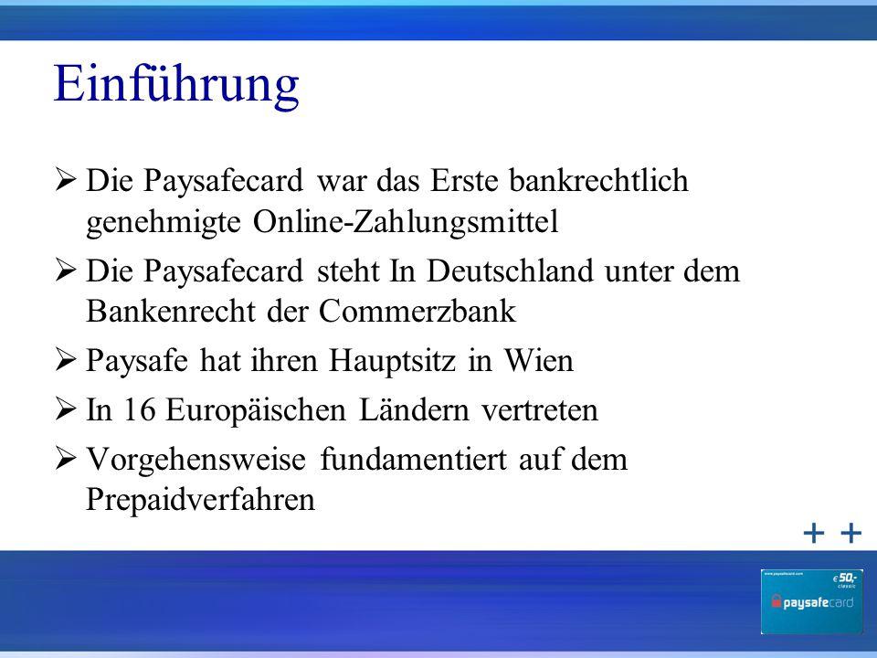 Einführung Die Paysafecard war das Erste bankrechtlich genehmigte Online-Zahlungsmittel.