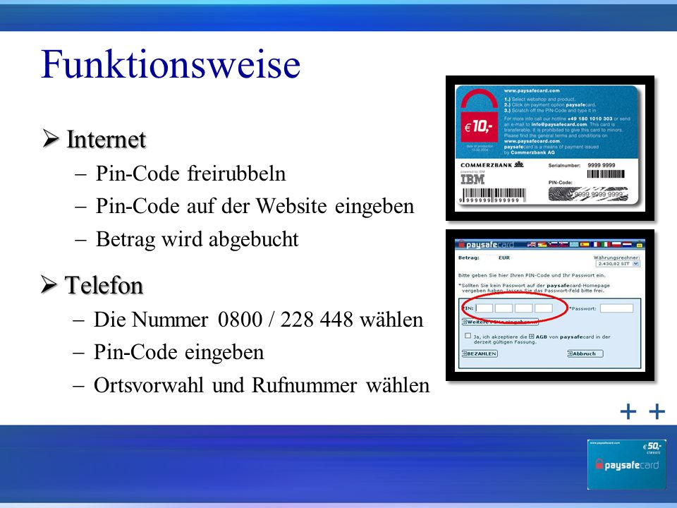 Funktionsweise Internet Telefon Pin-Code freirubbeln