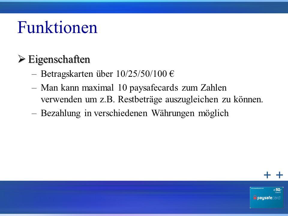 Funktionen Eigenschaften Betragskarten über 10/25/50/100 €