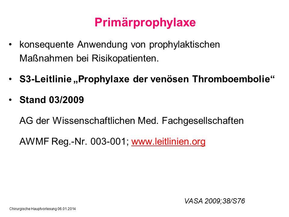 """Primärprophylaxe konsequente Anwendung von prophylaktischen Maßnahmen bei Risikopatienten. S3-Leitlinie """"Prophylaxe der venösen Thromboembolie"""
