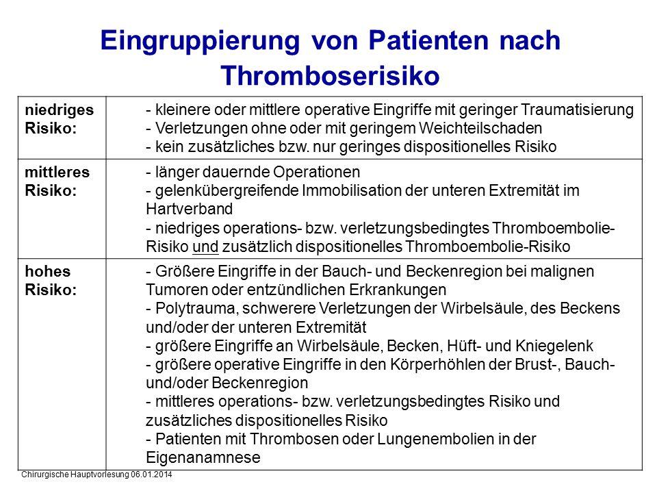 Eingruppierung von Patienten nach Thromboserisiko