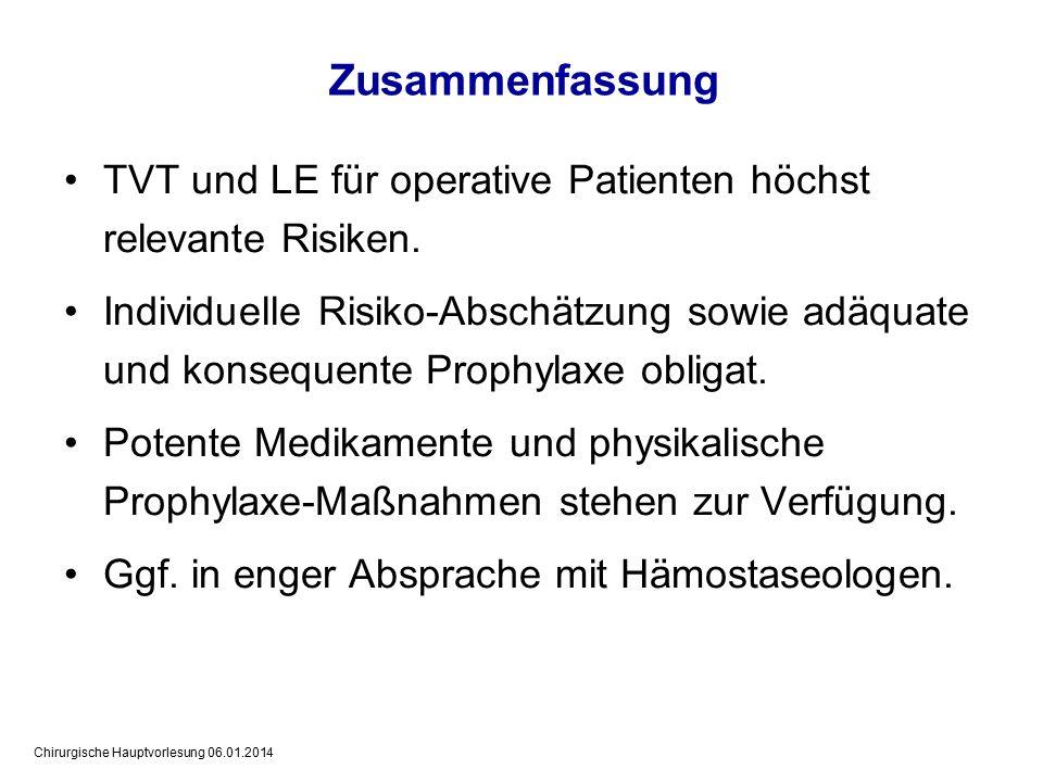 Zusammenfassung TVT und LE für operative Patienten höchst relevante Risiken.