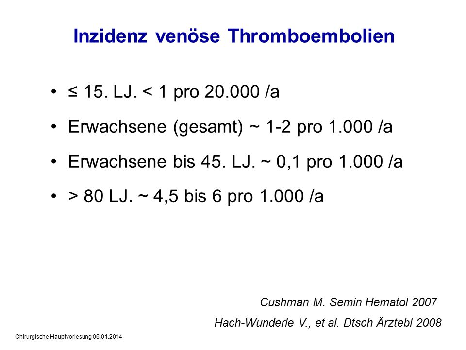 Inzidenz venöse Thromboembolien