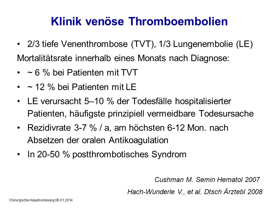 Klinik venöse Thromboembolien