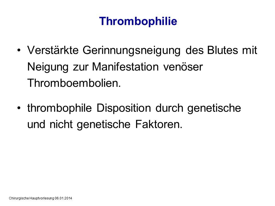 Thrombophilie Verstärkte Gerinnungsneigung des Blutes mit Neigung zur Manifestation venöser Thromboembolien.