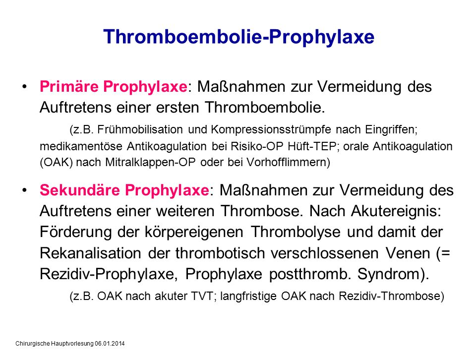 Thromboembolie-Prophylaxe