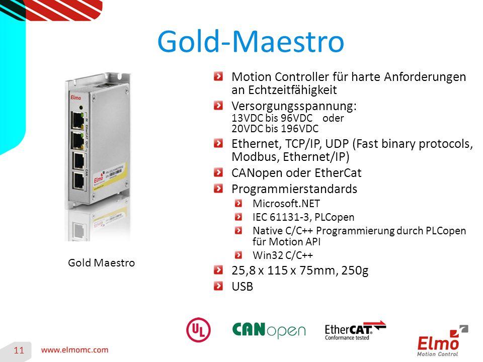 Gold-Maestro Motion Controller für harte Anforderungen an Echtzeitfähigkeit. Versorgungsspannung: 13VDC bis 96VDC oder 20VDC bis 196VDC.
