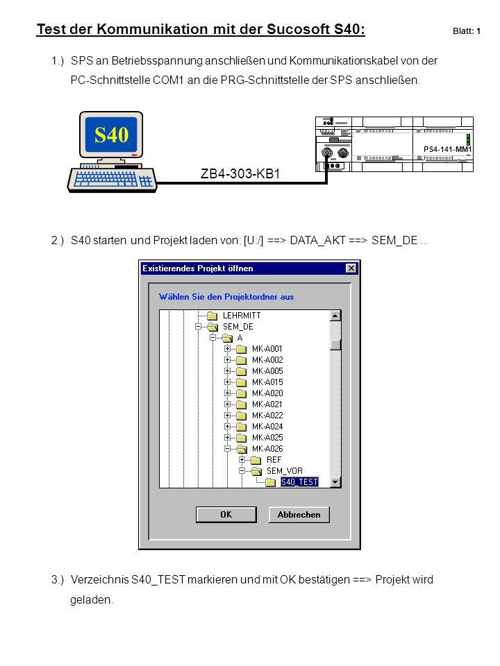S40 Test der Kommunikation mit der Sucosoft S40: Blatt: 1 ZB4-303-KB1