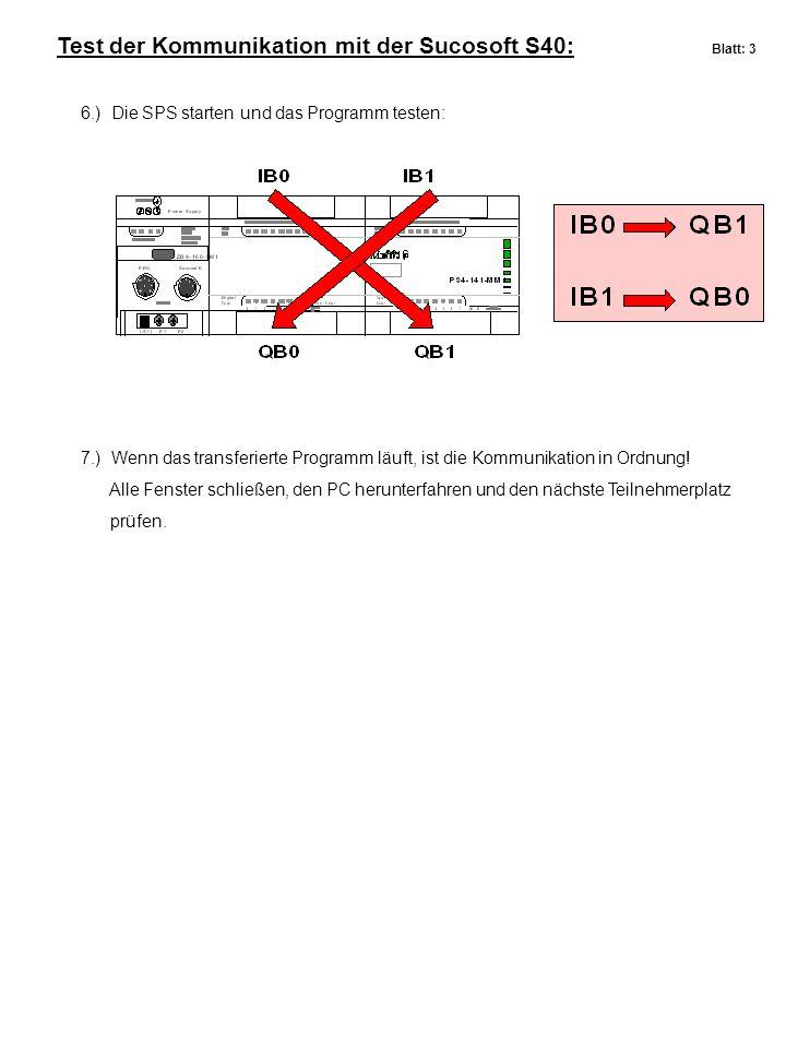 Test der Kommunikation mit der Sucosoft S40: Blatt: 3