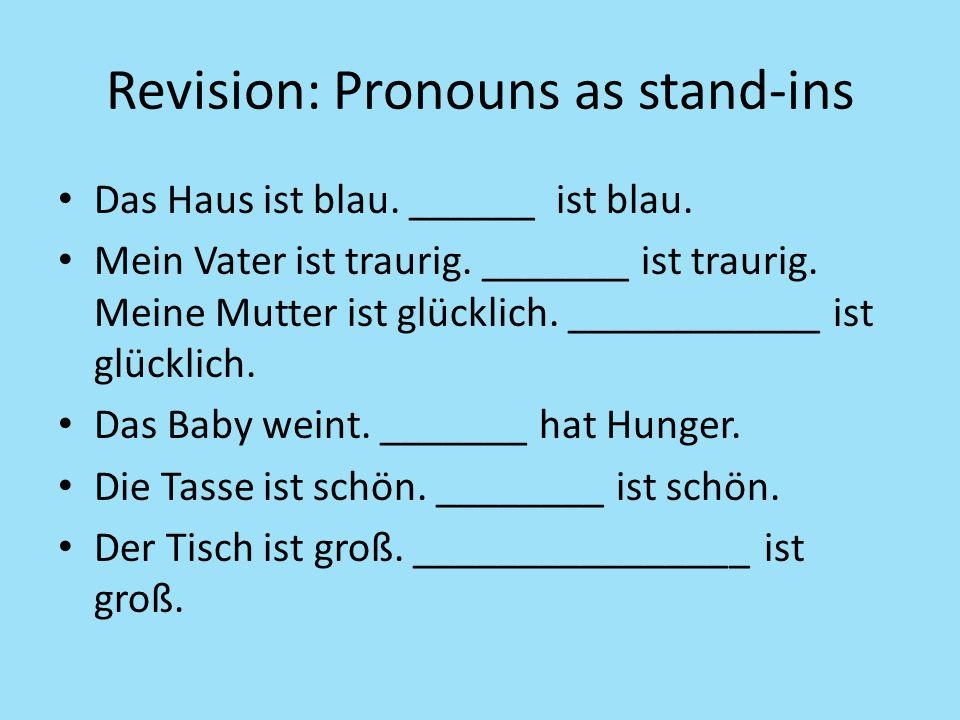 Revision: Pronouns as stand-ins