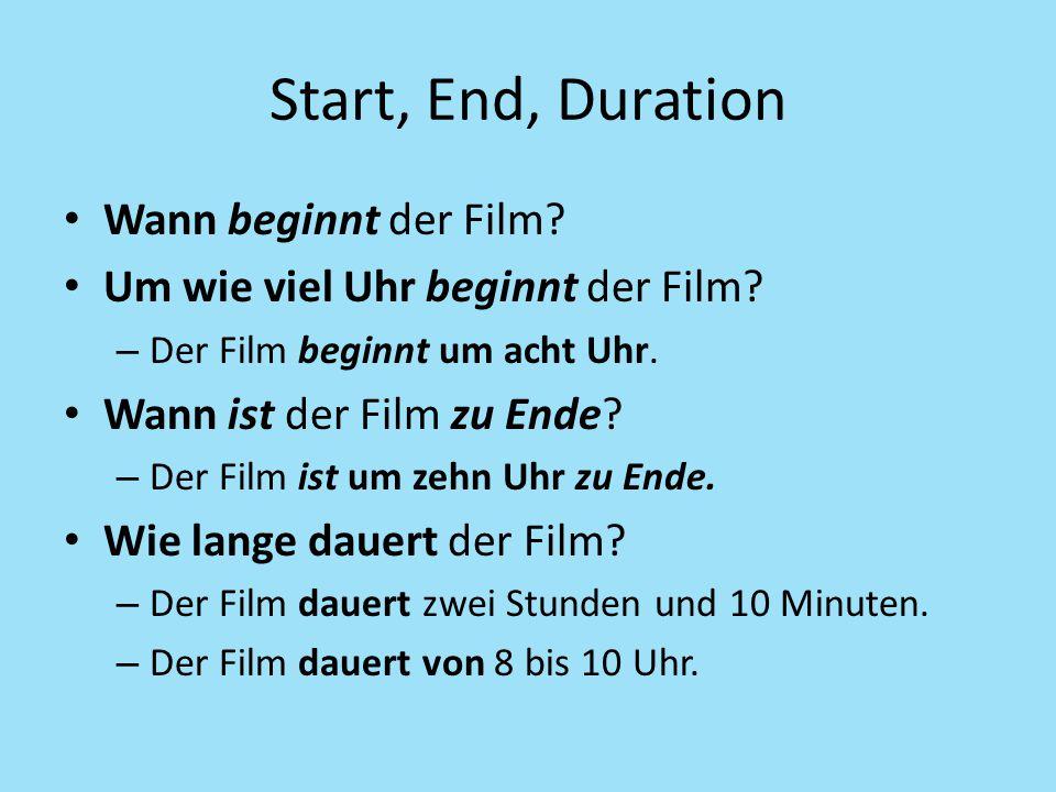 Start, End, Duration Wann beginnt der Film